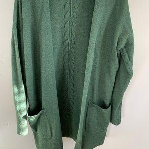 Green long cardigan